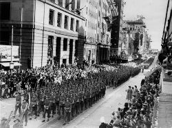 Soldiers marching through Queen Street, Brisbane, 1944